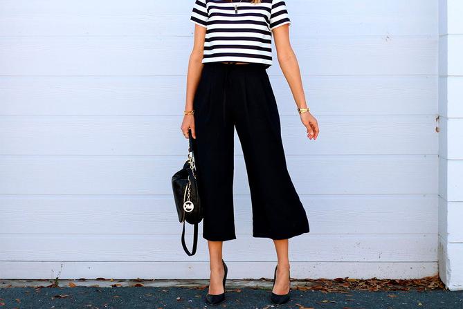 С чем носить брюки-кюлоты?